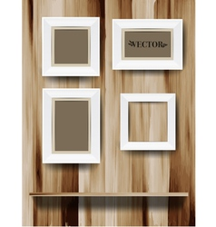White modern frames on the wood wall vector image