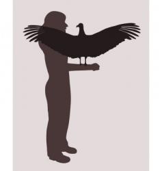 woman and bird of prey vector image
