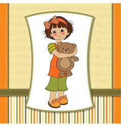 Young girl going to sleep with her favorite toy a vector