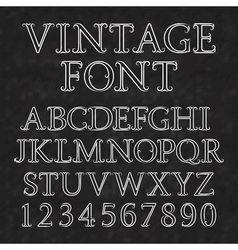 Vintage letters and numbers with flourishes font vector