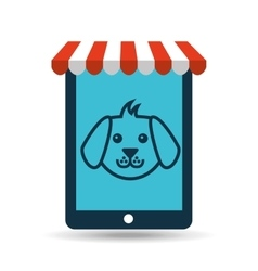 Online pet shop and face doggy vector