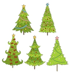 Set of doodle trees  festive vector