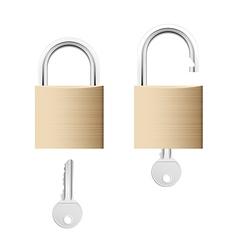Locked and unlocked gold locks with keys vector