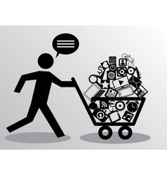 Running man with shopping vector