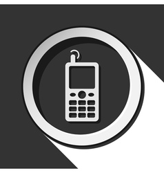 Black and white round - old mobile phone icon vector