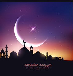 Mosque silhouette in night sky with crescent moon vector