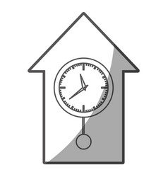 Grayscale silhouette of cuckoo clock vector