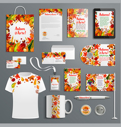 Corporate identity set with autumn brand symbol vector