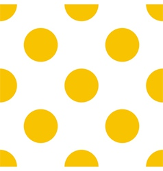 Seamless yellow polka dots on white background vector image