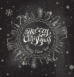 Christmas chalkboard background vector image
