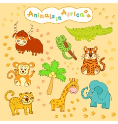 children is colorful collection of African animals vector image