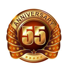 55 years anniversary golden label with ribbon vector image vector image