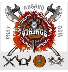 Viking emblem and logos plus isolated elements for vector