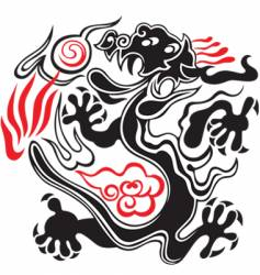 Black and red dragon vector