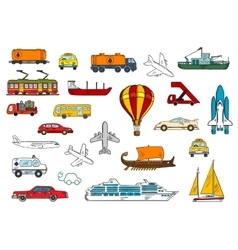 Road air railroad water transportation symbols vector