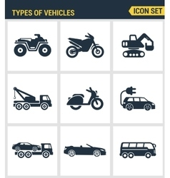 Icons set premium quality of types of vehicles vector
