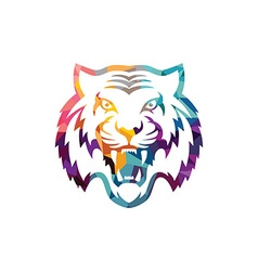Abstract colorful triangle geometrical tiger logo vector