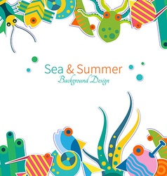background with sea animals vector image vector image