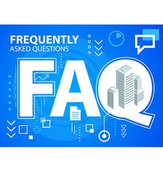 Bright faq and buildings on blue background vector