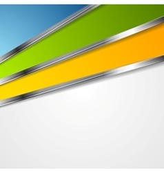 Bright tech background with metal stripes vector image vector image