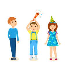 Children celebrating by exploding firecrackers vector