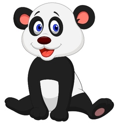 Cute baby panda cartoon vector image vector image