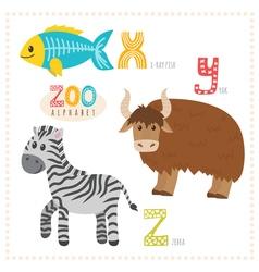 Cute cartoon animals Zoo alphabet with funny vector image vector image