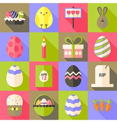 Easter flat styled icon set 1 with long shadow vector image