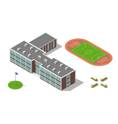 flat 3d isometric school building bus stadium vector image