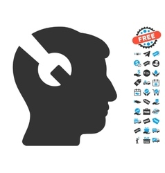Head Surgery Wrench Icon With Free Bonus vector image