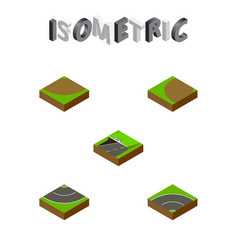 Isometric road set of subway bitumen turning and vector