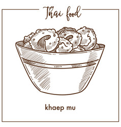 Khaep mu in deep bowl from thai food vector