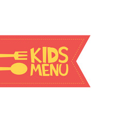 Kids menu red label template vector
