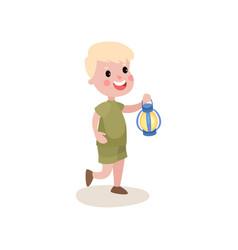 Little blond kid walking with coleman lantern in vector