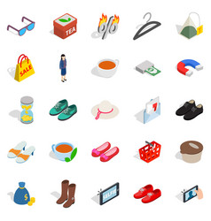 Market icons set isometric style vector