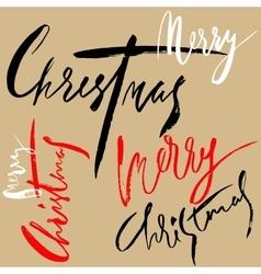 Merry christmas lettering design set handwritten vector