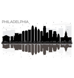 Philadelphia city skyline black and white vector