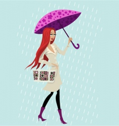 rain and girl vector image vector image