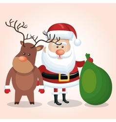 santa claus and reindeer with bag gift vector image