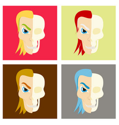 Set of comic stylized superhero skeleton face vector
