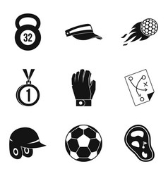 Sport stock icons set simple style vector