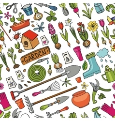 Spring garden doodle seamless patterncolored vector