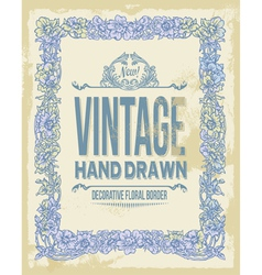 Vintage hand drawn floral decorative border vector