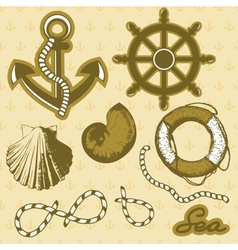 Vintage marine elements set Includes anchor rope vector image