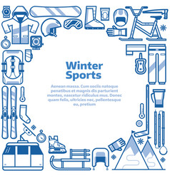 winter sports lifestyle border frame vector image vector image