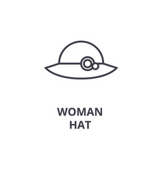 woman hat line icon outline sign linear symbol vector image