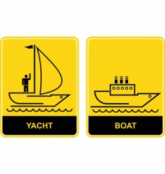 Yacht and boat signs vector