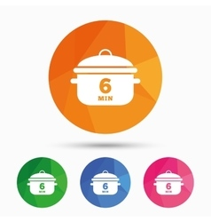 Boil 6 minutes cooking pan sign icon stew food vector