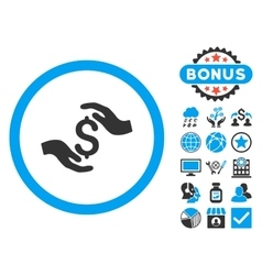 Dollar care hands flat icon with bonus vector