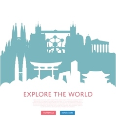 Explore world concept with cityscape silhouettes vector